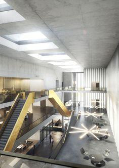 Visualisierung des Wettbewerbsentwurfs von Mlzd-Architekten für den Neubau der Bernexpo - BEmotion Multifunktionshalle in Bern.