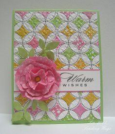 Flowers: PTI Beautiful Blooms II; leaf dies are Wplus9's Folk Art Florals die set and sentiment by Hero Arts