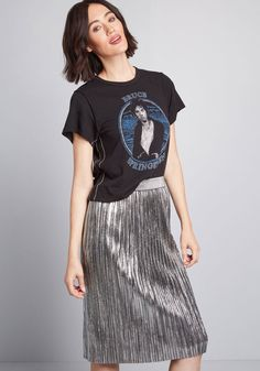 9266d2beb Fold Accountable Pleated Midi Skirt in XS - A-line Skirt by ModCloth Midi  Skirt