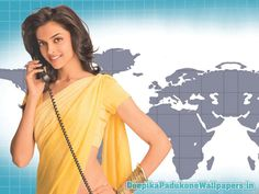 Deepika Padukone in Yellow Saree #DeepikaPadukone http://www.deepikapadukonewallpapers.in/