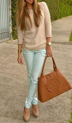 nude sweater + mint jeans + nude heels + Tory Burch leather handbag = obsession!