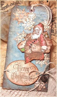 The Funkie Junkie: Challenge: 12 Tags of Christmas - Funkie Junkie Style - Week #8 Vintage Tim Holtz Santa