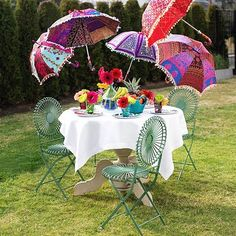 outside umbrellas..keeping the sun off your cucumber sandwiches