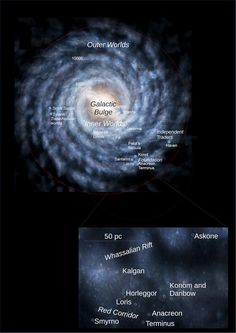 The galaxy of the Trantor Universe and the environment of Terminus (insert)  Foto - GoogleFotos Asimov Foundation, Inner World, Isaac Asimov, Sci Fi, Environment, Universe, Google, Books, Science Fiction