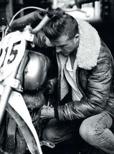 Shearling leather bomber jacket. David Beckham.
