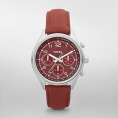 Fossil Flight Leather Watch – Red