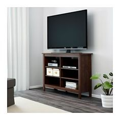 IKEA - BRUSALI, TV unit, white, , Adjustable shelves can be arranged according to your needs.Cable outlets make it easy to lead cables and cords out the back so they're hidden from view but close at hand when you need them.Open compartments for your DVD player, etc.