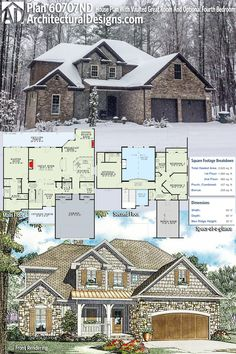 Architectural Designs House Plan 60707ND gives you 3 to 4 bedrooms and over 2,600 sq. ft. of heated living space PLUS a bonus room over the garage. Ready when you are. Where do YOU want to build? #60707nd #adhouseplans #architecturaldesigns #houseplan #architecture #newhome #newconstruction #newhouse #homedesign #dreamhome #dreamhouse #homeplan #architecture #architect #craftsmanhouse #craftsmanplan #craftsmanhome