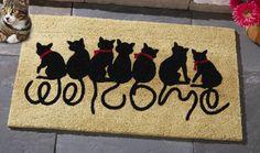 This would be at my front door :) Welcome Kitties Front Door Doormat