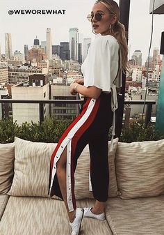 Black Popper Side Stripe Pants