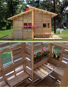 A cool pallet house. Im thinking about building a pallet fort for the kids, but this is a clever structure too. Scroll to the bottom of the page. Pallet Fort, Pallet Playhouse, Pallet Shed, Pallet Crates, Pallet House, Wood Pallets, Diy Pallet Projects, Outdoor Projects, Wood Projects