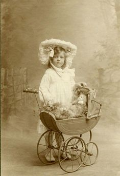 Vintage Family Photos found of. Alicia Maud Jenkins with her doll and pram. For the background to these photographs see the introduction to the set 'A Family of Photographers'. Vintage Children Photos, Vintage Pictures, Old Pictures, Vintage Images, Old Photos, Victorian Photos, Antique Photos, Vintage Photographs, Vintage Pram