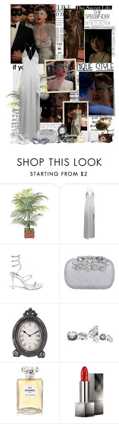 """Anastasia Steele and Christian Grey - Fifty Shades Darker ( Masked Ball )"" by iced ❤ liked on Polyvore featuring Gwyneth Shoes, Halston Heritage, Rene, Home Decorators Collection, Paperchase, Guide London, Chanel and Burberry"