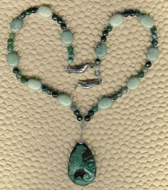 Conure Up  Carved Agate  Bird Pendant Green by ChicStatements