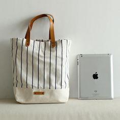 Canvas and Leather Tote Bag Shopper Bag School Bag Daily Bag for Women 14005 - LISABAG - 3