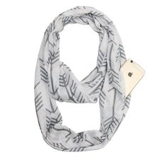 Womens Solid Color Infinity Fashion Scarves Wrap White Zipper Pocket,Travel Scarf (Black Arrow)
