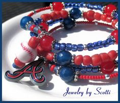 Atlanta Braves Coil Charm Bracelet Baseball Red Blue Braves Logo 4 Coils Team Name Braves Fans Jewelry // SRAJD #etsybot #OOAK