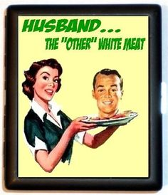 Angry 50s Housewife Puts Husbands Head on a Platter Spoof Humor Kitsch ID Cigarette Case Business Card Holder