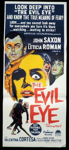 The Evil Eye (1963) Stars: Letícia Román, John Saxon, Valentina Cortese ~ Director: Mario Bava (Australian Daybill)