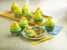 Pin for Later: 20 Fabulous Desserts Starring Spring's Cutest Candy (Peeps) Peeps Surprise-Inside Cupcakes Filled with sprinkles and robin eggs candies and topped with Peeps, these might be the most festive cupcakes we've laid eyes on.
