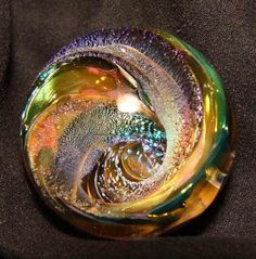 kc boro glass marble multi fumed vortex dichro tunnel 1 1/8""