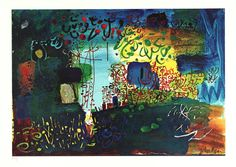 John Piper Near Newcastle Emlyn, Cardigan 1968 Screenprint on paper. These intensely coloured screen prints are incredibly beautiful. Piper's world pulls at the heartstrings - we want to enter it before it is lost.and it is already too late. John Piper Artist, Helen Chadwick, Newcastle Emlyn, Coventry Cathedral, Just Ink, Day Book, Green Man, Art Images, Printmaking