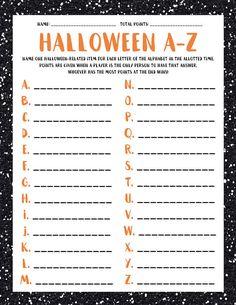 Halloween A-Z Halloween Scattergories Halloween Spiele Halloween Tags, Halloween Designs, Halloween Class Party, First Halloween, Holidays Halloween, Halloween Crafts, Fun Halloween Games, Halloween Night, Halloween Riddles