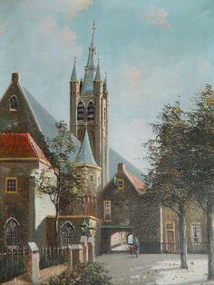 Jacobus Lambertus Dispo (1890-1964). Stadsgezicht. Mogelijk Delft. Olieverf op doek