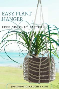 FREE easy Plant Hanger crochet pattern for your plants. Learn how to make a crocheted plant hanger. Easy crochet tutorial for beginners. Free crochet pattern with step by step pictures. #crochet #crochetpattern #crocheting #planthanger