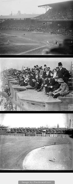 AT THE BALL PARK: Shibe Park, home of the Philadelphia Athletics. Top to Bottom: 1910, 1910, 1914. Photos taken before right field wall's height was increased and the roofs could no longer be used as a perch to view the game. - created via http://pinthemall.net