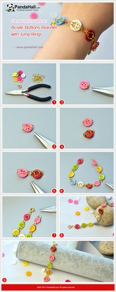 How to DIY Acrylic Buttons Bracelet with Jump Rings With some colorful acrylic buttons and jump rings, you can make a very delicate bracelet in a smart way!