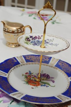 Vintage Christmas Cake Stand - The Royal Purple & Gold Petals Cakestand, Two Tier  $58.00