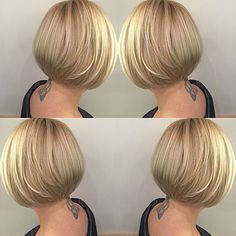 100 Mind-Blowing Short Hairstyles for Fine Hair Sleek Stacked Golden Bob Bob Haircut For Fine Hair, Short Hairstyles For Thick Hair, Short Thin Hair, Short Bob Haircuts, Short Hair With Layers, Short Hair Cuts For Women, Curly Hair Styles, Medium Hairstyles, Braided Hairstyles