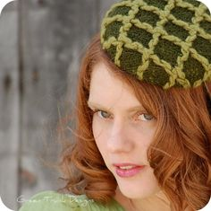 Green Cabled Knit Pill Box Fascinator Hat. via Etsy.  -----upcycle sweater over small embroidery frame. Stitch thick yarn of a contrasting color onto sweater material in cross hatching lines.