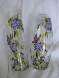 """Купить Ваза """" Сирень"""".Роспись на стекле - сиреневый, ваза, стеклянная ваза, витражная ваза"""