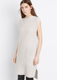 Wool Cashmere Directional Rib Sweater Dress   Vince