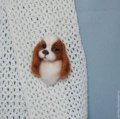 Купить Брошка -щенок Адель - коричневый, украшения ручной работы, украшение, брошь ручной работы
