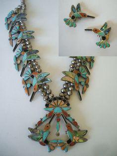 Rare HOWARD ESALIO Hummingbird Squash Blossom Necklace & Earrings SET Zuni Inlay, TurquoiseKachina, $2495.00