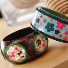 Mod Podge bangle bracelets with Dimensio...