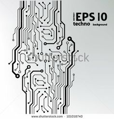 circuit board pattern black-and-white. abstract technology circuit board vector background by takito, via Shutterstock Circuit Board Tattoo, Circuit Board Design, Vector Background, Textured Background, Tech Tattoo, Cyberpunk Tattoo, Electronic Tattoo, Electric Circuit, Pin Up Posters