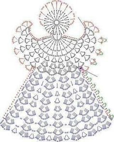 Tricô e Crochê - Knitting and Crochet: Enfeite de Natal em Crochet - Anjo Natalino Crochet Angel Pattern, Crochet Angels, Crochet Diagram, Crochet Chart, Thread Crochet, Crochet Motif, Crochet Flowers, Knit Crochet, Crochet Fabric