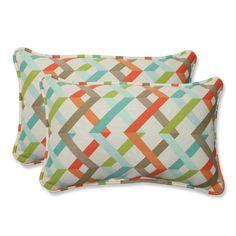 Blue and Orange Outdoor Parallel Play Caribbean Rectangular Throw Pillow, Set of 2