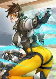 Overwatch,Игры,Tracer,Игровой арт,game art,Winston (Overwatch),Overwatch art,Blizzard,Blizzard Entertainment,фэндомы