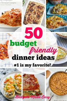 50 Budget Friendly Dinner Ideas - Budgets Made Easy, Week night dinner planning is so much easier with the dinner ideas. Meal planning for dinner is done for at least 2 months! The new and tasty dinner ideas your whole family will love. Even your kids will eat these dinners! #dinnerideas #mealplan #mealprep