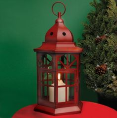 Antique Red Lantern with Glass Panels.