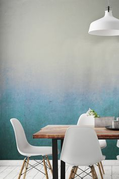 This stunning ombre wallpaper design works perfectly in dining room settings. Neutral cream and off-white tones slowly descend into a wonderful blue haze to create a stunning atmosphere. Perfect for creating a relaxed environment for evening dinners.