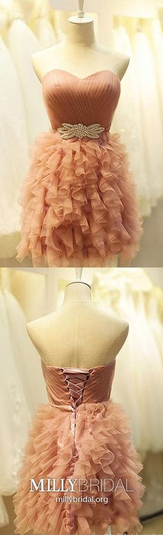 Pearl Pink Homecoming Dresses Ball Gown, Short Prom Dresses Tulle, Ruffles Little Black Dresses Tiered, Classy Sweet 16 Crystal Brooch Modest Formal Dresses, Vintage Formal Dresses, Dresses Short, Cheap Evening Dresses, Trendy Dresses, Cheap Graduation Dresses, Vintage Homecoming Dresses, Military Ball Dresses, The Dress