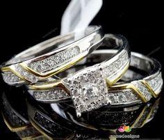 14K Two Tone Gold Round Diamond Bridal Wedding Trio Ring Set (0.50 Ct.tw) #aonedesigns