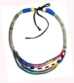 Multi Strand African Necklace - Rope African Jewelry - Thread Wrap Necklace