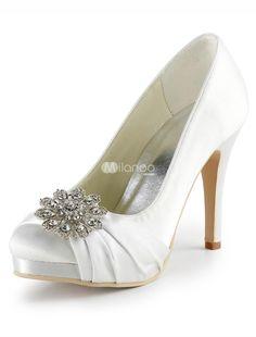 White Round Toe Platform Satin Faux Fur Bridal Shoes. See More Bridal Shoes at http://www.ourgreatshop.com/Bridal-Shoes-C919.aspx